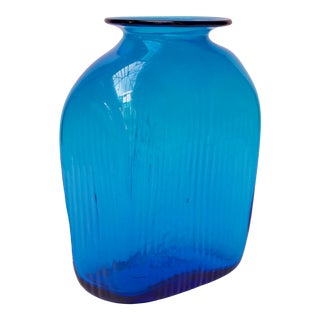"""Large Turquoise Blown Glass Asymmetrical """"Ribbed"""" Vase by Blenko For Sale"""