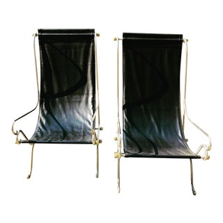 Vintage Mid Century Modern Maison Jansen Sling Chairs- a Pair For Sale