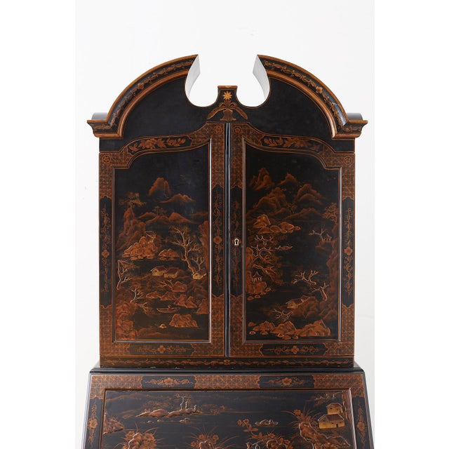 English Chinoiserie Style Lacquered Parcel-Gilt Secretary For Sale - Image 4 of 12