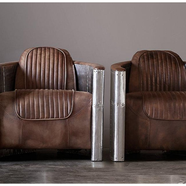 Pair of Restoration Hardware Aviator Chairs For Sale - Image 12 of 13