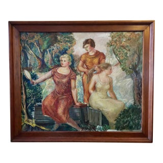 "Oil on Canvas Painting of ""The Three Graces"", 1930s For Sale"