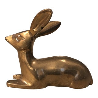 Mid 20th Century Brass Fawn Paper Weight For Sale