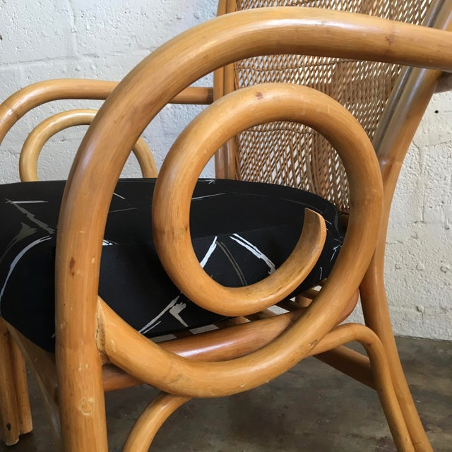 1980s Vintage Mid Century Modern Bamboo Rattan Accent Chair. For Sale - Image 5 of 8