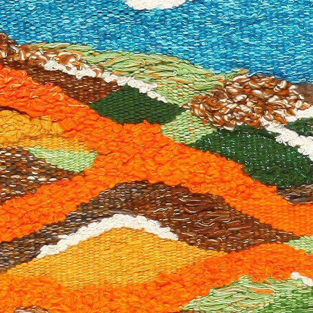 Mid-Century Modern Scandinavian Landscape Tapestry Rug by Christina Knall - 3′ 10″ × 5′ For Sale - Image 3 of 8