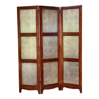 20th Century Wood and Silver Double Sided Three-Panel Folding Screen For Sale