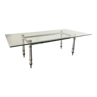 1960's Maison Jansen Steel and Brass Dining Table For Sale