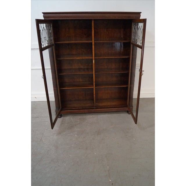 Antique Oak Arts & Crafts Leaded Glass Bookcase - Image 9 of 10