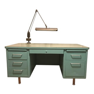 Tiffany Blue Steelcase Tanker Desk With Articulating Lamp