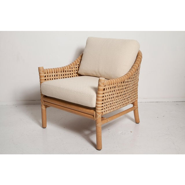 Animal Skin Vintage Woven Leather Armchair and Ottoman Set by McGuire For Sale - Image 7 of 13