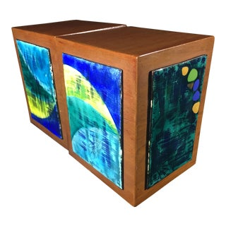 Modern Wood and Painted Ceramic Tile Bookends - A Pair For Sale