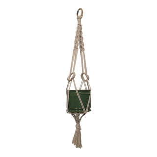 1980's Macrame Plant Hanger & Green Ceramic Cachepot For Sale