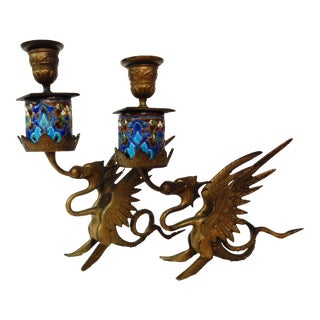 French Gothic Gargoyle Candle Holders - A Pair For Sale
