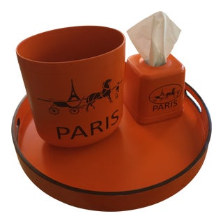 Contemporary Hermès Orange Inspired Equestrian Waste Bin and Tissue Holder Set For Sale
