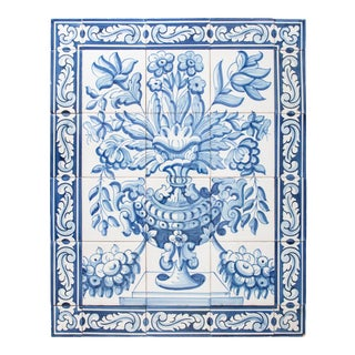 Large Vintage Dutch Delft Floral Tile Wall Mural For Sale