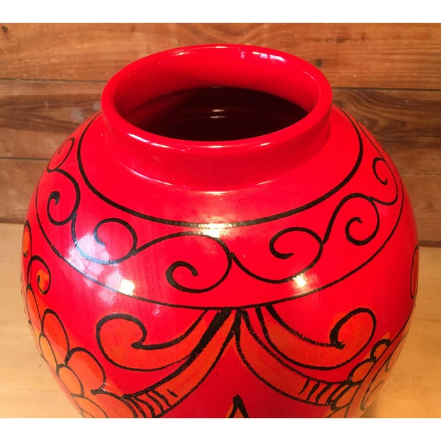 Bellini for Raymor Red Pottery Floor Vase For Sale - Image 5 of 7
