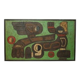 "1970s Vintage Jesus Fernandez ""Condor Cuadrupedo Alado"" Primitive Style Painting For Sale"