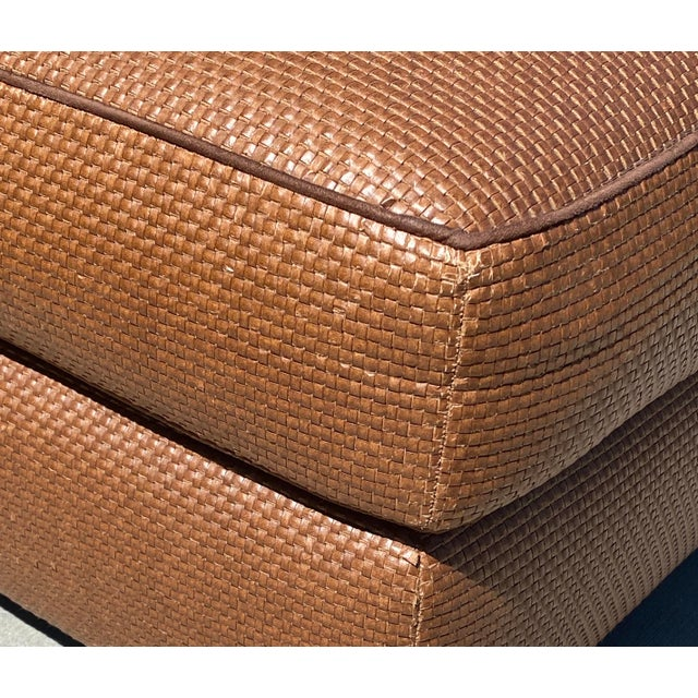 Donghia Donghia Leather Woven Ottoman For Sale - Image 4 of 11