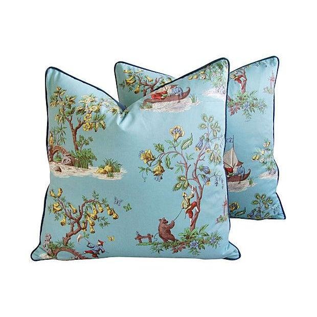 Powder Blue Scalamandré Pillows - A Pair - Image 1 of 7