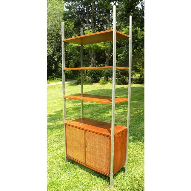 Vintage Mid-Century Chrome and Walnut Wall Unit For Sale - Image 4 of 9