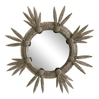 Hollywood Regency Featherburst Sterling Convex Mirror For Sale