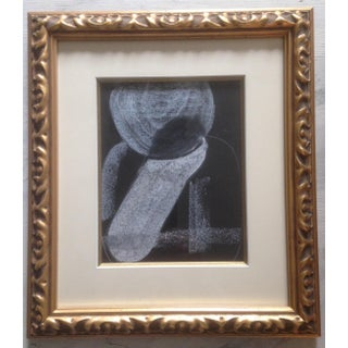 Abstract Black and White Charcoal and Pastel Drawings in Gold Frames - a Pair Preview