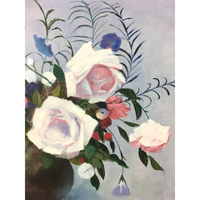 Vintage authentic painting of flowers bouquet in vase, featuring roses ,camellias, and lilies. The piece is from the mid...