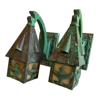 1930s Green Patina-Ed Sconces - a Pair For Sale