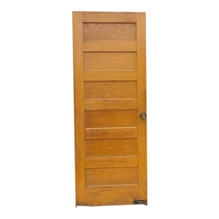 Antique Oak 6 Paneled Door With Foot & Brass Hardware 84 X 32 Architectural Salvage For Sale