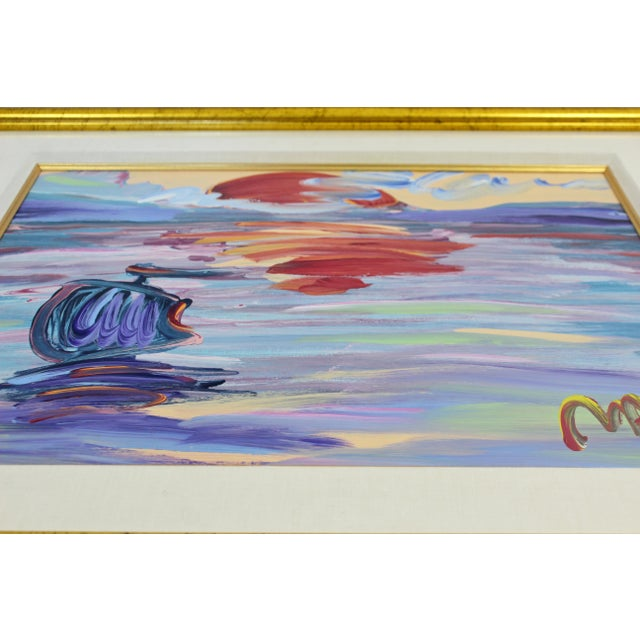 Early 21st Century Contemporary Modern Framed Peter Max American Sunset Signed Acrylic Painting For Sale - Image 5 of 7