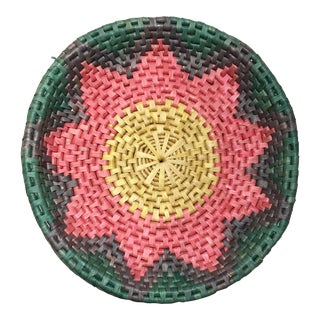 Vintage Large Colorful Woven Basket