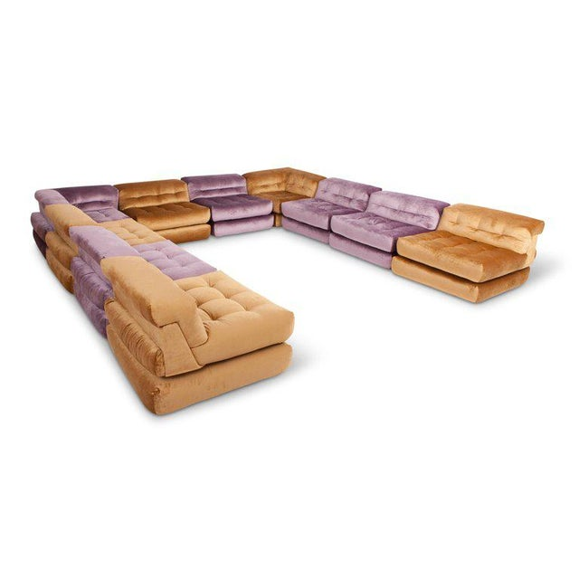 Roche Bobois first edition Mah Jong modular sofa from the 1970s by Hans Hopfer and Philippe Roche reupholstered in golden...