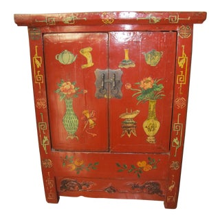 Early 1900s Antique Chinese Red Decorated Side Chest