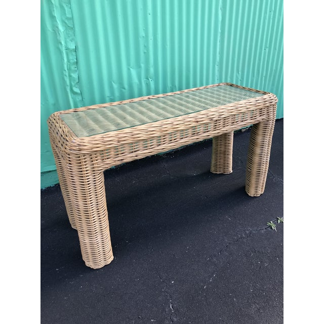 Boho Chic Vintage large braid wicker console table in as found vintage condition. Please zoom in on all pictures as items...