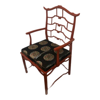 Century Furniture Chinoiserie Red Pagoda Accent Chair For Sale