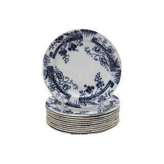 Antique Flow Blue Salad Plates, S/11 For Sale