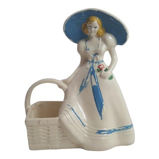Blue Girl With Basket Planter For Sale