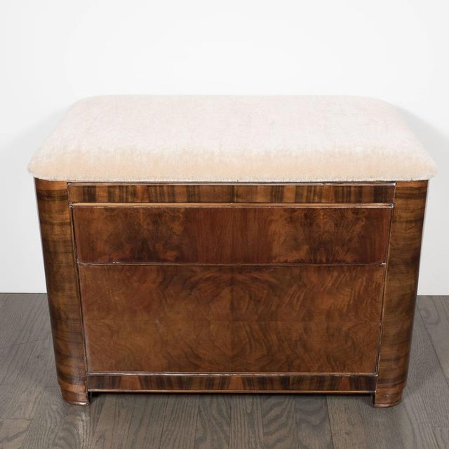 Art Deco Machine Age Storage Bench in Bookmatched Walnut and Camel Mohair For Sale In New York - Image 6 of 10