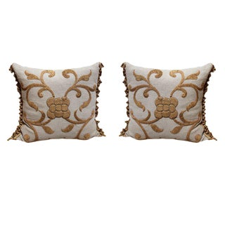 Antique Gold Appliqued Linen Pillows w/ Fringe - a Pair For Sale