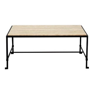 Diagramme' Travertine and Wrought Iron Coffee Table by Design Frères For Sale