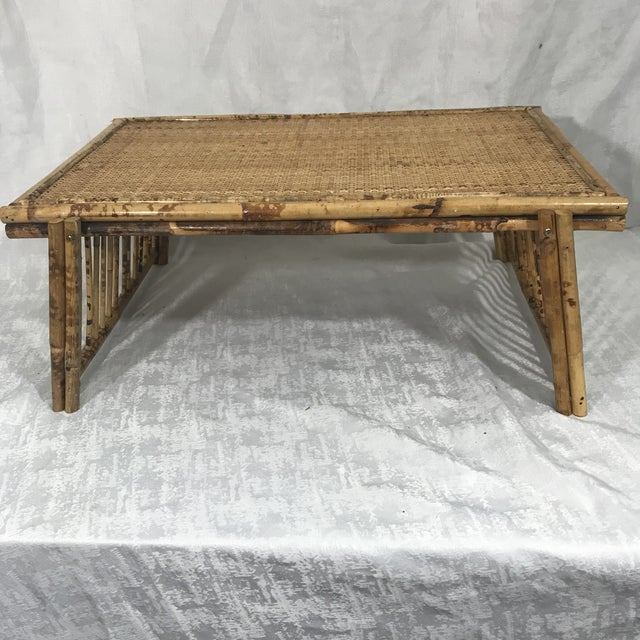 Asian 20th Century Chinoiserie Tortoise Shell Bamboo & Rattan Folding Bed Tray Table For Sale - Image 3 of 7