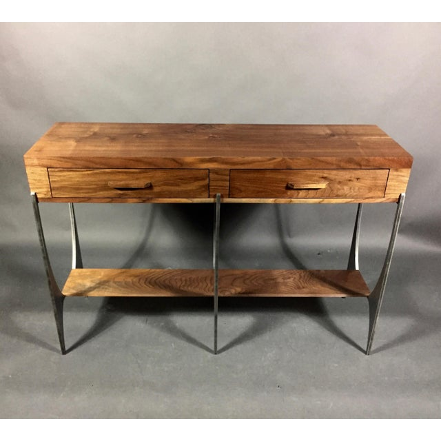 Richard Vellosso Walnut & Steel Console Table, Usa For Sale - Image 12 of 13
