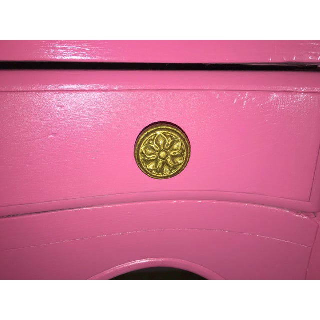 Suga Lane Hollywood Regency French Hot Pink Gold Desk - Image 9 of 13