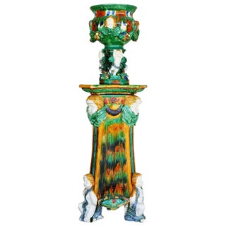 Vintage Ceramic Jardinière and Stand