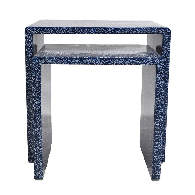 Blue Waterfall Nesting Tables - A Pair - Image 3 of 6