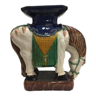 Ceramic Horse Garden Stool, Made in Spain