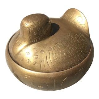 Brass Bird Lidded Trinket Box