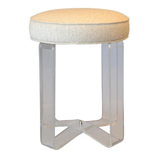 Hollywood Regency Round Lucite Stool Crissed-Cross Legs and Fabric Seat For Sale