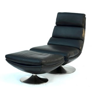 Italian Leather Chair and Ottoman Preview