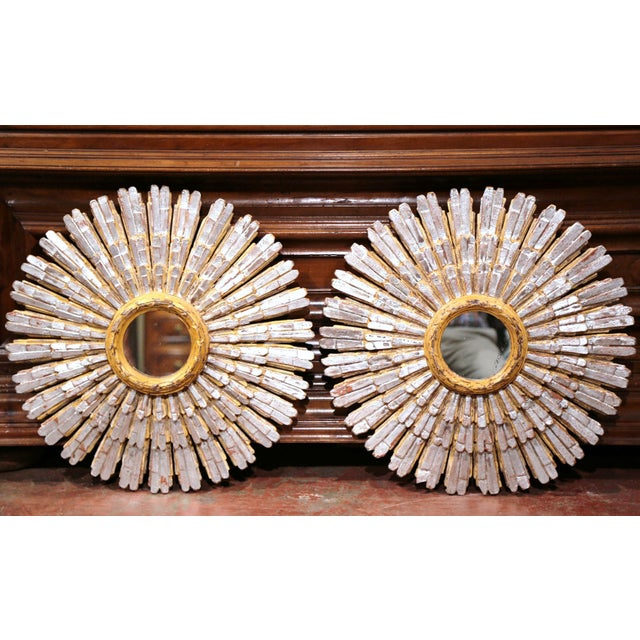 Mid-20th Century French Painted and Silvered Carved Sunburst Mirrors - a Pair For Sale - Image 5 of 10