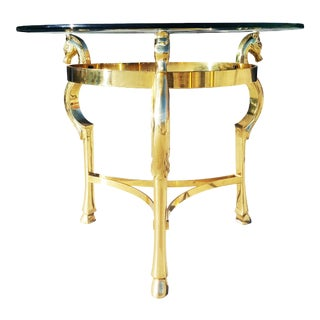 1970s Hollywood Regency Brass Horse Side Table For Sale